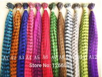 Wholesale Feather Hairpieces - Wholesale-100pcs Grizzly Feather Hair Extensions high temperature Wire synthesis hairpiece with free beads and hook