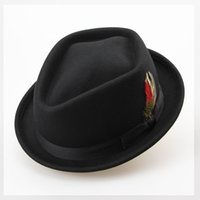 Wholesale Vintage Bowler Hats - Wholesale-Vintage Australian Wool Felt Jazz Men Hat Male Floppy Feather Fedora Bowler Hat Fashion Flat Dome S M Large Size Woolen Hat