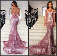 Wholesale Brilliant Trumpet - Brilliant Sequin Mermaid Evening Dresses 2017 Spaghetti Strap V-Neck Sweep Train Formal Prom Gowns Sexy Backless Applique Party Dresses