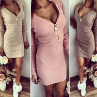 Wholesale Plunge V Neck - Sexy Women's Ladies Zip Up Plunge V Neck Long Sleeve Slim Jumper Tops Bodycon Club Party Evening Cocktail Mini Pencil Dress