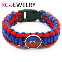 Wholesale Silver Id Bracelets - 55# 2017 fashion Survival Paracord Bracelet haiti flag bracelet Survival Paracord lifesaving bracelet