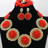 Wholesale Bridal Jewelry Coral Wedding - 2016 Cheap Jewelry For Women coral red gold 18k gold plated Crystal Diamante Wedding Bridal Necklace Bracelet Earring Bridesmaid Jewelry Set