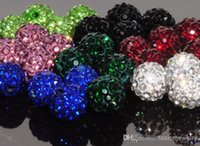 Wholesale Pink Cz Necklaces - 500pcs lot 10mm can choose color mix Micro Pave CZ Disco Crystal Shamballa Bead Bracelet Necklace Beads.good free shipping lowe price