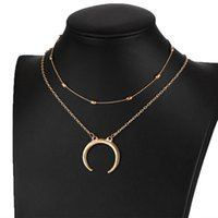 Wholesale Outlet Plate Double - Wholesale Fashion Choker Necklace Jewelry Factory Outlet Double pendant Multi-layer clavicle necklace Christmas gift Free Shipping