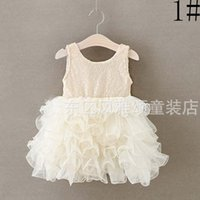 Wholesale Silk Sequin Dresses Wholesale - New Girls paillette Sequin Dress Sweet Princess Dresses Lace Tulle Dress Kids Summer Fashion Children White Tutu Party Dress Lovekiss C29683