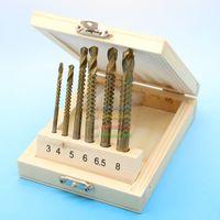 Wholesale Saw 5mm - 6pc HSS 3mm 4mm 5mm 6mm 6.5mm 8mm Titanium Coated Drill Bit Woodworking Wood Metal Plastic Cutting Hole Saw Holesaw Set W  Case order<$18no