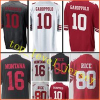 Wholesale Free San Francisco - New Limited #10 Jimmy Garoppolo jersey Men San Francisco 80 Jerry Rice 16 Joe Montana jerseys stitched Embroidery Free Shipping