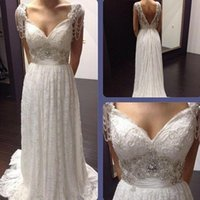 Wholesale beaded princess waist wedding dresses for sale - Group buy Vintage Beaded Boho Wedding Dresses Lace Backless Sexy Dropped Waist Sweetheart Ivory Tulle Plus Size Bridal Gowns