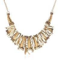 Wholesale Metal Rattan - hot sale European Style Vintage Gold silver Jewelry Metal Rattan Choker Collar Pendant Necklaces mixed color