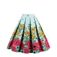Green Bee Vintage Skirt Retro Floral Printed Tutu Donne Teen Juniors Cotone Una linea 1950s Cocktail Party Club lavoro Autunno Flared Dress Casual