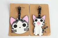 kimlik seti toptan satış-Yeni Yaratıcı Sevimli Kedi PVC Bagaj Etiketi Adı KIMLIK Tutucu Bagaj Bavul Kontrol Kitleri için Kontrol Kitleri