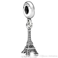 Wholesale Metal Charms Pendants Eiffel Tower - Fashion 925 Sterling Silver Charm Paris Eiffel Tower Pendant European Charms Silver Beads For Snake Chain Bracelet DIY Jewelry 22