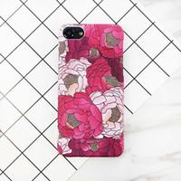 cubierta de la caja dura de la flor para el iphone al por mayor-Elegante caja de teléfono con pintura de flor roja para iPhone 7 7 Plus Funda rígida para PC de moda para iPhone7 7 Plus