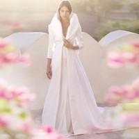 Wholesale Long Red Wedding Cloak - Beautiful 2017 Autumn Winter White Long Sleeves Wedding Cloak Bridal Wrap Jacket Satin Floor Length Coats Bridal Cape Customize