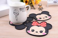 Wholesale Tea Coasters Designs - New Design Round Silicone Coasters Cute Cartoon Tea Cup Mat Home Drink Placemat Tableware Coffee Coaster