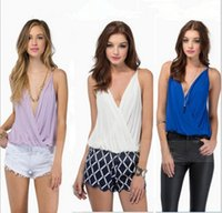 Wholesale Sexy Low Cut Tops - Fashion Plunge V-neck Drape Wrap Strap Tank Low Cut Backless Casual Sexy Night Clubwear Tops Chiffon Blouse Blusas Femininas