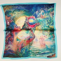 Wholesale Silk For Scarfs China - Brand 2016 new real silk mulberry silk scarves for women oil painting Silk Scarf china New Latest Popular Fashion For Women Soft Silk