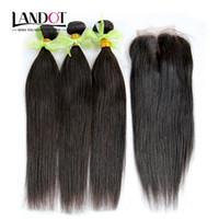bakire hint saçları yol kapanışı toptan satış-Hint Düz Bakire Saç Kapatma Ile 4 Paketler Lot Işlenmemiş Hint Remy İnsan Saç Dantel Kapaklar Ücretsiz / Orta / 3 Yollu Bölüm
