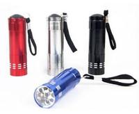 Wholesale Portable W Led Flashlight - Mini 9 LED uv Gel Curing Lamp Portable Nail Dryer LED Flashlight Currency Detector Aluminum Alloy