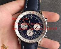 Wholesale Top Swiss Sport Watches - Luxury Top Quality JF Factory Maker Swiss ETA 7750 Movement 43mm x 17mm Blue Rubber Strap Navitimer Chronograph Mens Watch Watches