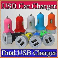 Wholesale Charger For Cell Phones Ac - 200X High Quality Micro Auto Universal Dual USB Car Charger 5V 2.1A Mini Adapter With Short Circuit Protection for cell phone 6S 7 plus P-SC