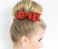 Wholesale Orange Ponytails - Women Hair Accessories Korean Multicolor Satin Sequin Ribbon Hair Bow Girls Headband Headwear Hair Clip Barrette Ponytail Holder