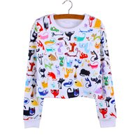 Wholesale Girls Doodles - Doodle Cats print casual girls cropped sweatshirts lady Autumn clothes long sleeve fashion women pullovers mix order factotry wholesale