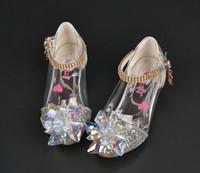 Wholesale Kids Designer Shoes Wholesale - Kids Crystal Shoes Elsa Princess dancing Shoes Girls Designer Dress Shoes cinderella high heels single footwear girls sandals T0002
