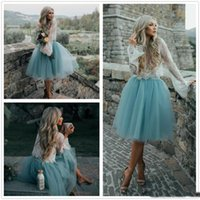 Wholesale Sexy Girls Mini Clothes - Cheap Two Pieces Prom Dresses Long Sleeves Tulle Shirt And White Lace Top Girls Holiday Homecoming Party Clothing 2017