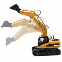 Wholesale Excavator 12 - Wholesale-HuiNa Toys 1550 15 Channel 2.4G 1 12 RC Metal Excavator Charging 1:12 RC Car With Battery RTG