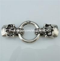 Wholesale Skull Connector Beads - 13875 2x Vintage Style Skull Clasp Connector for Men Punk Bracelet Necklace End