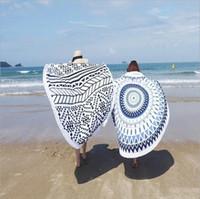 Wholesale cotton large shawl - Purified Cotton Beach Towel With Active Tassel Circle Large Printed Tapestry Indian Mandala Round Sunbathe Shawl towel Shawl Wrap Yoga Mat