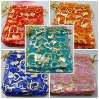 Wholesale Hot Favor Jewelry - Free Ship 100pcs Organza Jewelry Packing Pouch Wedding Favor Heart Gift Bags Hot 12x10cm
