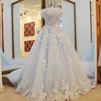 vestido azul royal venda por atacado-Princesa Quinceanera Vestidos Novos Off The Shoulder Apliques Lantejoulas Meninas Pageant Vestidos Fro Adolescentes Voltar Com Arco Celebrity Prom Dress