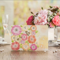 Wholesale Garden Invitations - Wholesale- 3D Foil Butterfly Colorful Flower Wedding decoration invitations laser cut Garden Style printable card supplies CW6017