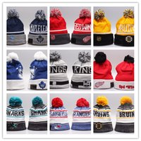Wholesale Cheap Derby Hats For Men - Cheap NHL Ice Hockey Caps Winter Beanie Hats for Men Knitted Wool Gorro Bonnet with Pittsburgh Penguins Chicago Toronto Blue Jays Warm Cap