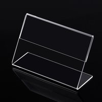 Wholesale Plastic Paper Display Stand - Clear 6x4cm L Shape PMMA Acrylic Plastic Table Sign Price Tag Label Display Paper Promotion Card Holder Stand