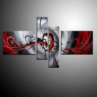 kanvas yağlıboya siyah kırmızı toptan satış-Tuval üzerine yağlıboya kırmızı siyah beyaz ev dekorasyon Modern soyut Yağlıboya duvar oturma odası 4 adet / takım