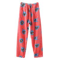 Wholesale Cute Women Pajama - Wholesale-New winter women sleep pants thickening pajamas muzhskaya cute cartoon flannel pajama pants large size pijama femme 3XL Q729