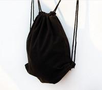 einfache mädchen rucksäcke schwarz großhandel-Mädchen Eco schwarz Leinwand Kordelzug Rucksack Frauen leer plain Organizer Rucksack Reise Sport Taschen Männer Handtasche Kinder DIY Geschenk Handwerk Taschen