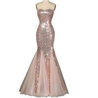 Wholesale Metallic Tulle - Sweetheart Sequin Metallic Spandex Mermaid Evening Dresses Shinny Bridesmaid Dresses Party Dresses Factory Custom Made 2016