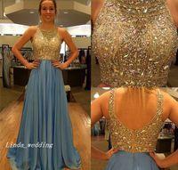 ingrosso bella abito da sera blu in rilievo-2019 Beautiful Blue Prom Dress Luxury A Line Chiffon Backless Beaded Crystals Evening Party Gown Plus Size abiti da festa