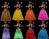 Wholesale hawaiian accessories for sale - Group buy Festive Children day Halloween costume party grass skirt Hawaiian grass skirt wedding accessories floral dress bra CM
