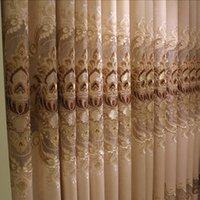 Wholesale Elegant Curtains For Windows - Western Luxury Curtains Elegant Curtains Chenille Embroidery Curtain For Windows 42W 50W 72W 1 Set 4 Panels Wholesale Beige Color