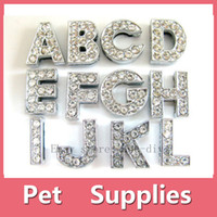 Wholesale Wholesale Personalized Sweater - Wholesale 12 PCS DIY Slide Charms Letters A-Z Number 0-9 10mm Clear Rhinestone Letters Dog Pet Cat Name Personalized name DIY slider
