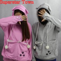 Wholesale Hoodies Cat Ears - Cat Lovers Hoodies With Cuddle Pouch Mewgaroo Nyangaroo Dog Pet Hoodies For Casual Kangaroo Pullovers With Ears Sweatshirt 3XL