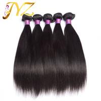 saf saç uzantıları toptan satış-En kaliteli% 100% Brezilyalı saç Saf İnsan Saç Doğal renk Düz Uzatma Ucuz Işlenmemiş Saç 4 demetleri / lot Kalite
