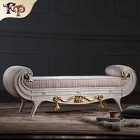 antike massivholzmöbel großhandel-Versailles Bettende Bank Französisch klassische Möbel, europäische klassische antike Schlafzimmermöbel Luxus Massivholz Bettende Bank Freies Verschiffen