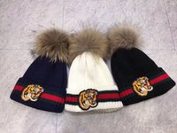 Wholesale Tiger Hat Knitted Warm - free shipping Unisex Winter Fashion brand G fashion Embroidered tiger head men knitted hat beanies women warm wool skullies caps wholesale
