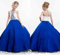 Wholesale Cupcake Pageant Dresses For Teens - Glitz 2017 Royal Blue little Kids Girl's Pageant Dresses Ball Gowns Toddler Cupcake Crystals Long Formal Flower Girl Dress for Teens